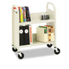 Bretford Steel Slant Shelf Single-Sided Book Cart/Stand, 2-Shelf, 26 x 14 x 32, Putty