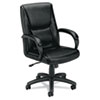 VL161 Executive Mid-Back Chair, Black Leather