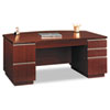 "72""W Bow Front Double Pedestal Desk (Box 1 of 2) Milano 2, Harvest Cherry"