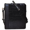 Zip-Around Cal-Q Folio, Croco Cover, Calculator, 3-Ring, Pad, Pocket, Black