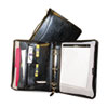 Portfolio w/Ring Binder, Suede Lined, Zipper, Assorted Pockets, Black