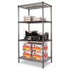 Wire Shelving Starter Kit, 4 Shelves, 36w x 24d x 72h, Black Anthracite