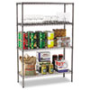 Wire Shelving Starter Kit, 4 Shelves, 48w x 18d x 72h, Black Anthracite