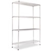 Wire Shelving Starter Kit, 4 Shelves, 48w x 18d x 72h, Silver