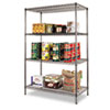 Wire Shelving Starter Kit, 4 Shelves, 48w x 24d x 72h, Black Anthracite