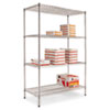 Wire Shelving Starter Kit, 4 Shelves, 48w x 24d x 72h, Silver