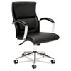 basyx VL106 Series Executive Mid-Back Chair, Black Leather