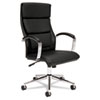 basyx VL105 Series Executive High-Back Chair, Black Leather