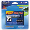 Brother P-Touch TZe Standard Adhesive Laminated Labeling Tapes, 1/2w, Black on Clear, 2/Pack