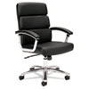 basyx VL103 Series Executive Mid-Back Chair, Black Leather