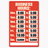 Business Hours Sign Kit,  8 x 12, Red