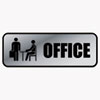 COSCO Brushed Metal Office Sign, Office, 9 x 3, Silver