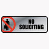 COSCO Brushed Metal Office Sign, No Soliciting, 9 x 3, Silver/Red
