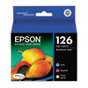 Epson T126520 (126) High-Yield Ink, Cyan, Magenta, Yellow, 3/Pk