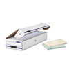 Stor/File Storage Box, Check, Flip-Top Lid, White/Blue, 12/Carton