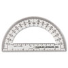 "Open Center Protractor, Plastic, 6"" Ruler Edge, Clear, 12/DZ"