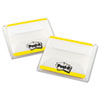 Durable File Tabs, 2 x 1 1/2, Striped, Yellow, 50/Pack