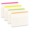 Durable File Tabs, 2 x 1 1/2, Striped, Assorted Fluorescent Colors, 24/Pack