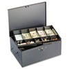 Extra Large Cash Box with Handles, Disc Tumbler Lock, Gray