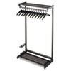 "48"" Wide Single-Sided Rack w/Two Shelves, 16 Hangers, Steel, Black"
