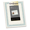 Southworth Parchment Certificates, Ivory w/Green & Blue Border, 24 lbs., 8-1/2 x 11, 25/PK