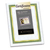 Foil-Enhanced Parchment Certificates, Blue/Green/Gold, 24 lb, 8.5 x 11, 15/Pk