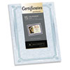Foil-Enhanced Parchment Certificates, Blue/Green/Silver, 24 lb, 8.5 x 11, 15/Pk