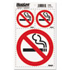 Self-Stick No Smoking Combo Decal, 2-3X3 & 1-6X6, White/Red/Black