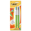 BIC 4-Color Ballpoint Retractable Pen, Assorted Ink, Medium, 2 per Pack