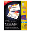 Avery Clean Edge Inkjet Business Cards, White, Round Edge, 2 x 3 1/2, 160 cards/PK