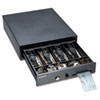 Compact Steel Cash Drawer w/Spring-Loaded Bill Weights, Disc Tumbler Lock, Black