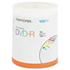 Memorex Inkjet Printable DVD-R Discs, 4.7GB, 16x, Spindle, Matte White, 100/Pack