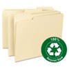 Recycled Two-Ply File Folders, 1/3 Cut Top Tab, Letter, Manila, 100/Box