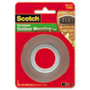 Scotch Exterior Weather-Resistant Double-Sided Tape, 1 x 60, Gray w/Red Liner