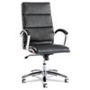 Alera Neratoli Series High-Back Swivel/Tilt Chair, Black Soft Leather, Chrome Frame