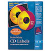 Avery Inkjet CD/DVD Labels, Matte White, 100/Pack