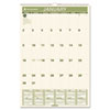 "Recycled Monthly Wall Calendar, 15 1/2"" x 22 3/4"", 2013"