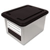 Innovative Storage Designs File Tote Storage Box with Snap-on Lid Closure, Letter/Legal, Clear/Black