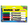 Marks-A-Lot Pen Style Dry Erase Markers, Bullet Tip, Assorted, 4/Set