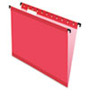 Pendaflex SureHook Poly Laminate Hanging Folders, Letter, 1/5 Cut, Red, 20/Box