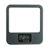 Recycled Plastic Cubicle Mirror with Digital Clock, Charcoal
