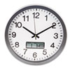 """Round Wall Clock with LCD Inset, 14"""", Gray"""