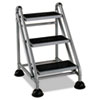 Cosco Rolling Commercial Step Stool, 3-Step, 26 3/5 Spread, Platinum/Black