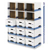 Bankers Box File/Cube Box Shell, Legal/Letter, White/Blue