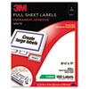 Permanent Adhesive White Full Sheet Copier Labels, 8-1/2 x 11, 100 Labels/Pack