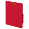 "40 Pt. Classification Folders, 2"" Fasteners, 2/5 Tab, Letter, Red, 10/BX"