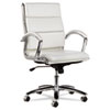 Alera Neratoli Mid-Back Swivel/Tilt Chair, White Stain-Resistant Faux Leather, Chrome