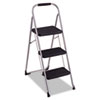 Cosco Three-Step Big StepTM Folding Step Stool, 200-lb, 17 3/4wx28dx45 5/8h,Platinum