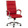 Alera Neratoli Series High-Back Swivel/Tilt Chair, Red Soft Leather, Chrome Frame