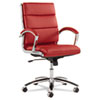 Alera Neratoli Series Mid-Back Swivel/Tilt Chair, Red Leather, Chrome Frame